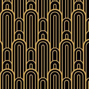 Art Deco Skyscraper Scallop, Black and Gold