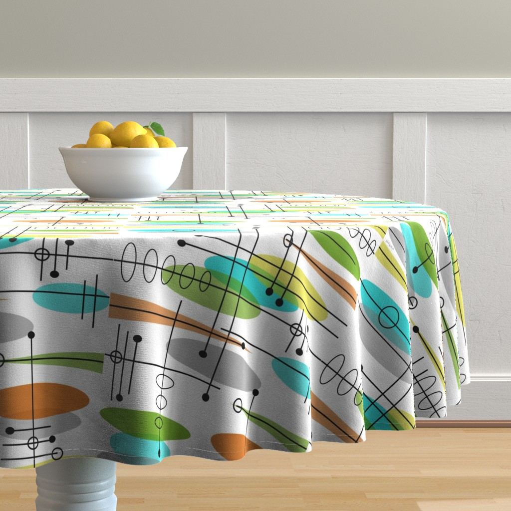 Malay Round Tablecloth featuring Space Age Atomic Inspired by hot4tees_bg@yahoo_com