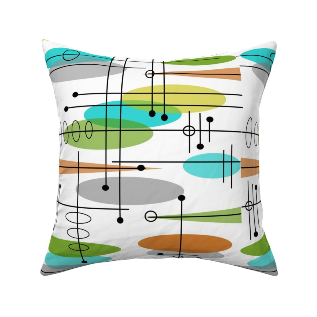 Catalan Throw Pillow featuring Space Age Atomic Inspired by hot4tees_bg@yahoo_com