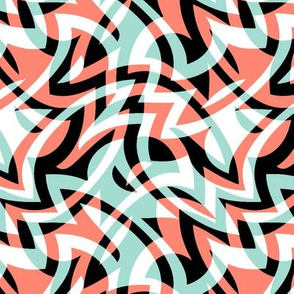 coral and mint op art