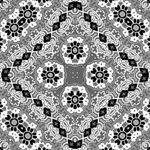 Folk Art Blocks from Tapestry Trim, black and white