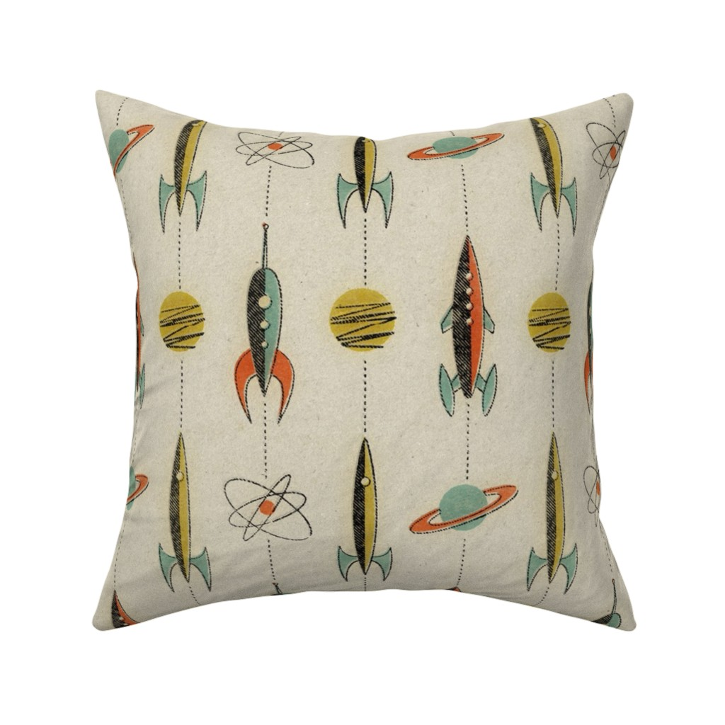 Catalan Throw Pillow featuring Retro rockets by mumbojumbo