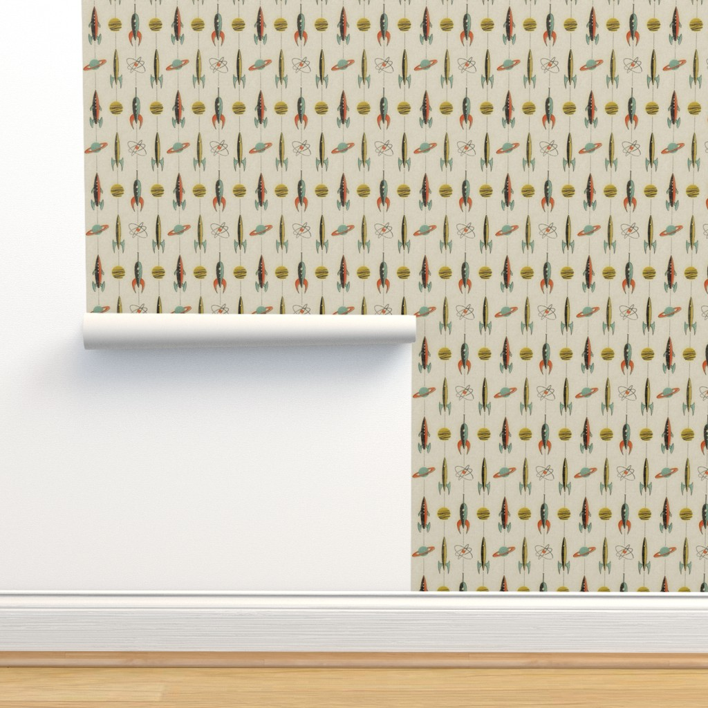 Isobar Durable Wallpaper featuring Retro rockets by mumbojumbo