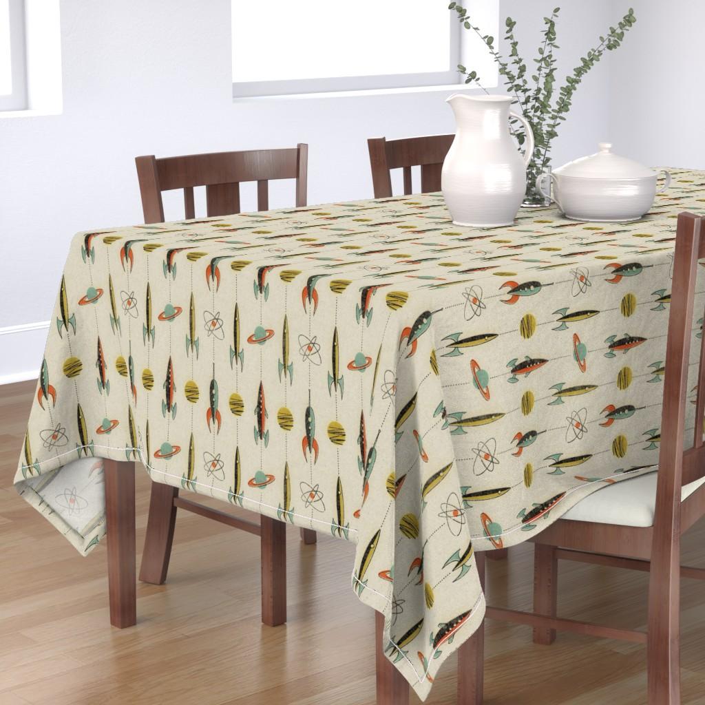 Bantam Rectangular Tablecloth featuring Retro rockets by mumbojumbo
