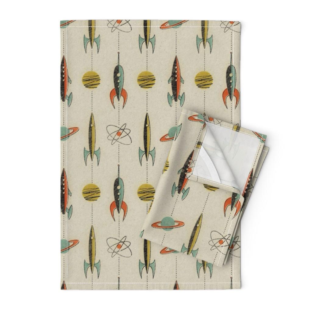 Orpington Tea Towels featuring Retro rockets by mumbojumbo