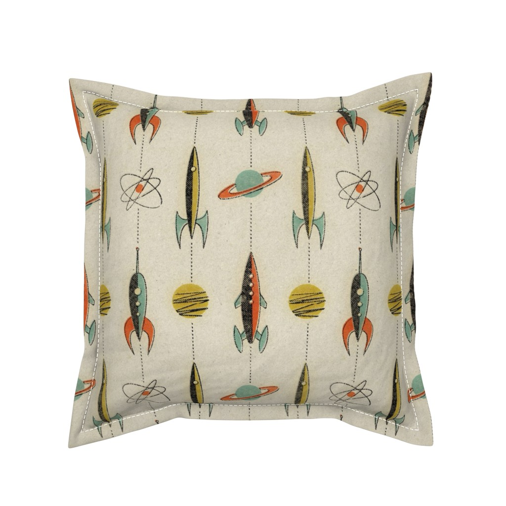 Serama Throw Pillow featuring Retro rockets by mumbojumbo