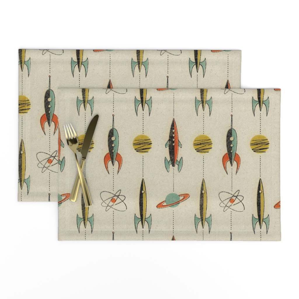 Lamona Cloth Placemats featuring Retro rockets by mumbojumbo