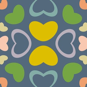 Pretty Hearts Blue Background