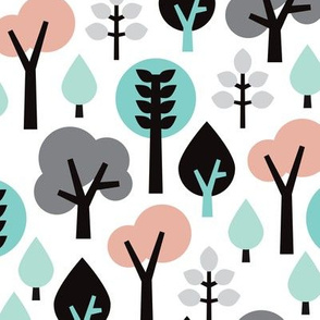 Pastel scandinavian woodland forest tree leaf and nature illustration pattern