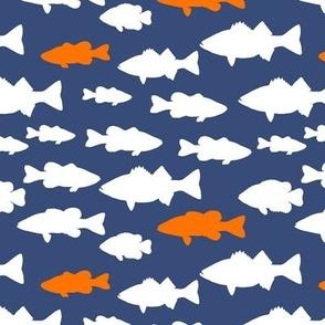 fish // dark blue and orange