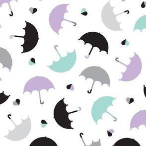 Pastel rainy days ove the rain vintage umbrella trendy kids illustration pattern