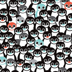 Cute little kids pattern in mint and coral adorable penguins winter illustration pattern for boys