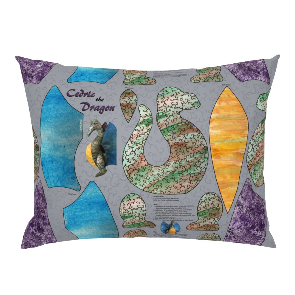 Campine Pillow Sham featuring Cedric the Dragon Plushie by evenspor