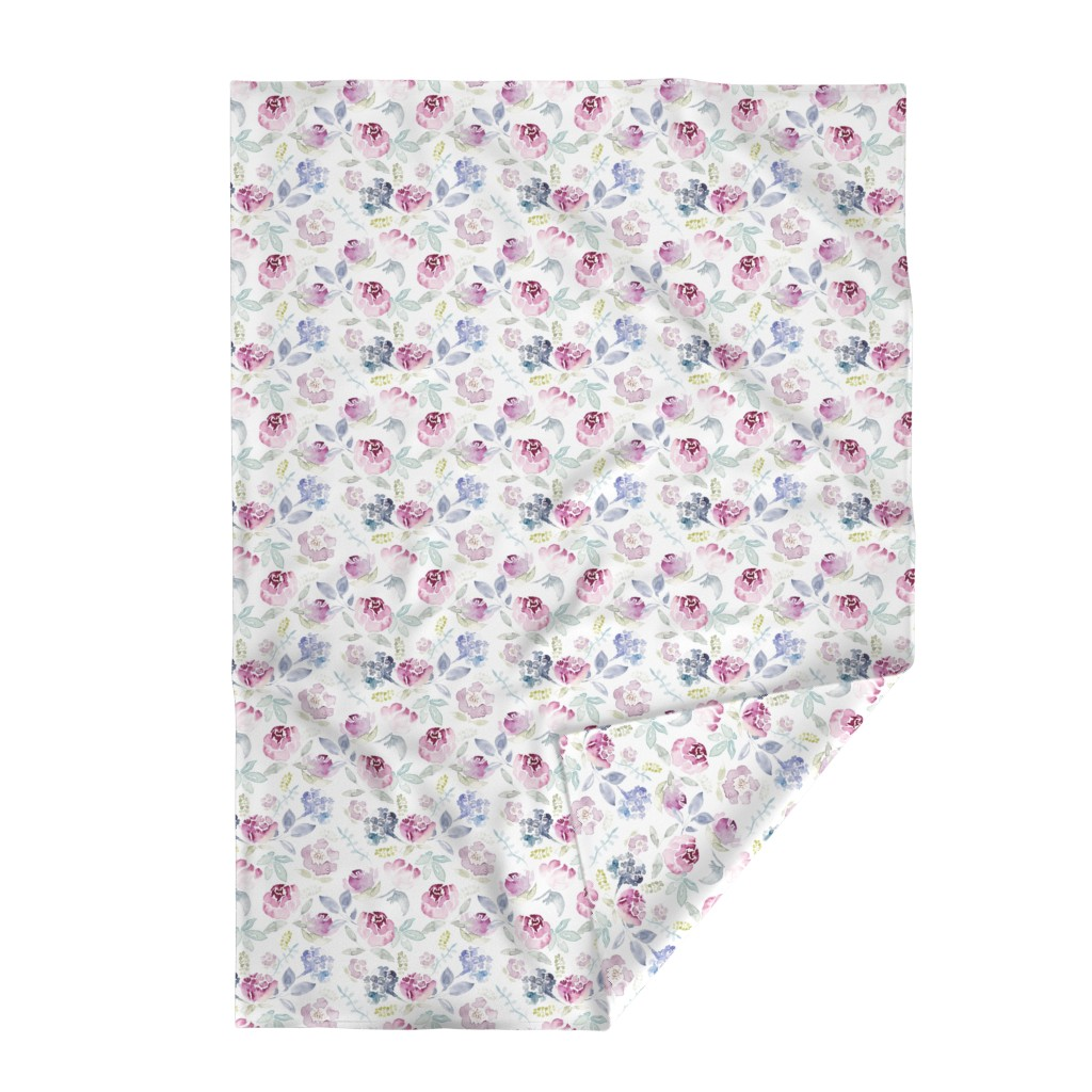 Lakenvelder Throw Blanket featuring Watercolour Florals Vintage Faded Style on White LARGE by sylviaoh