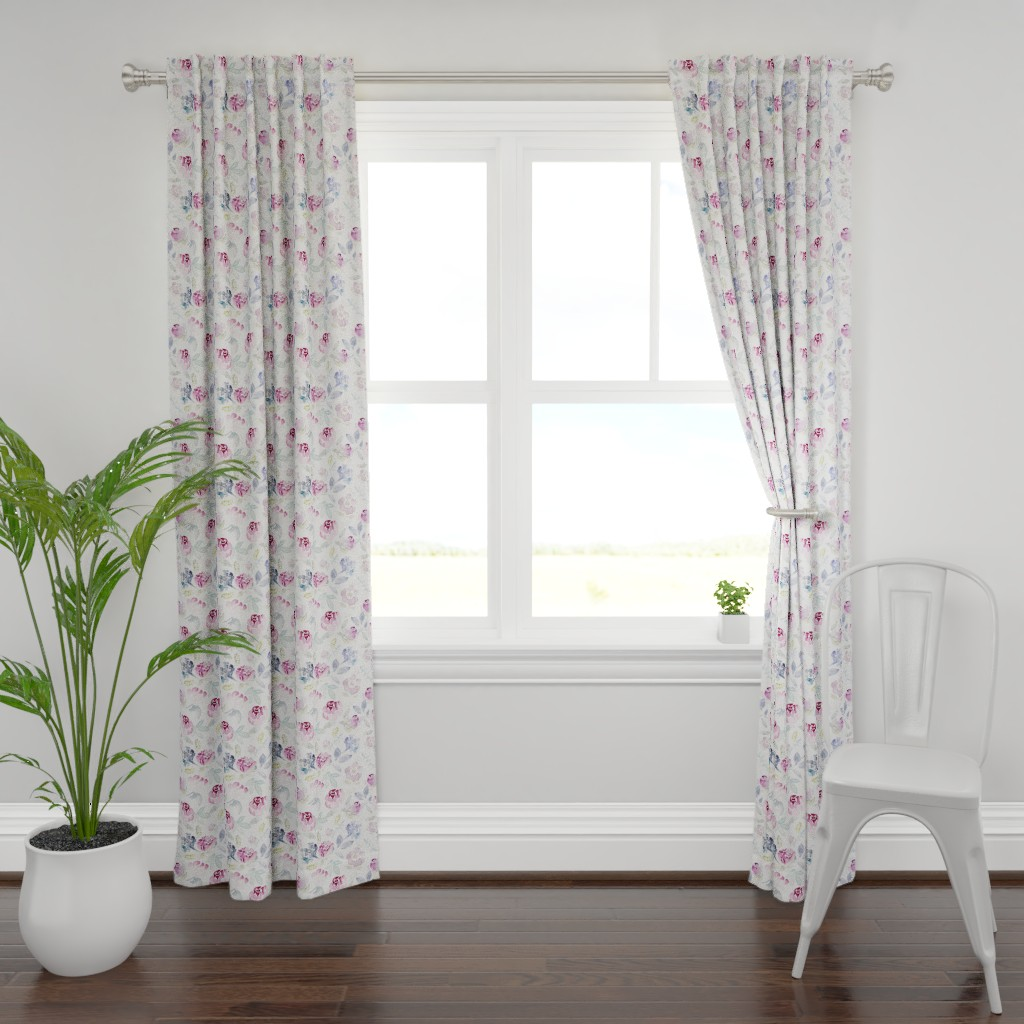 Plymouth Curtain Panel featuring Watercolour Florals Vintage Faded Style on White LARGE by sylviaoh