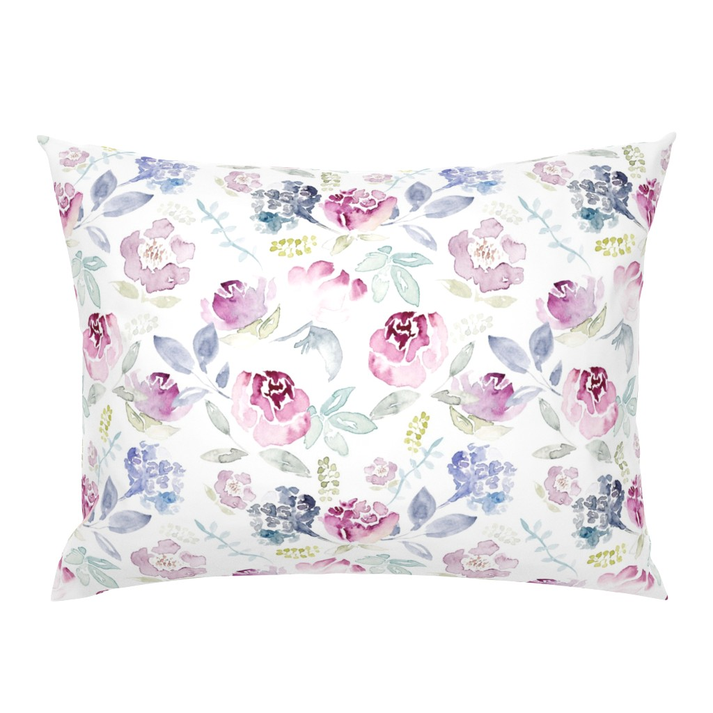 Campine Pillow Sham featuring Watercolour Florals Vintage Faded Style on White LARGE by sylviaoh