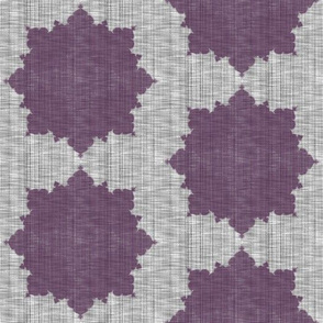 Starburst ~ Eggplant on Grey Linen Luxe
