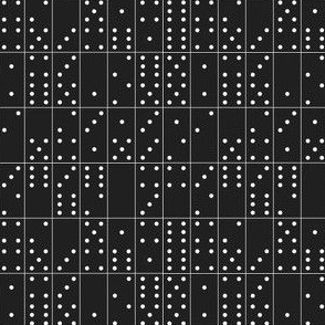 Domino Universe (White on Black) || dominoes game geometric polka dots