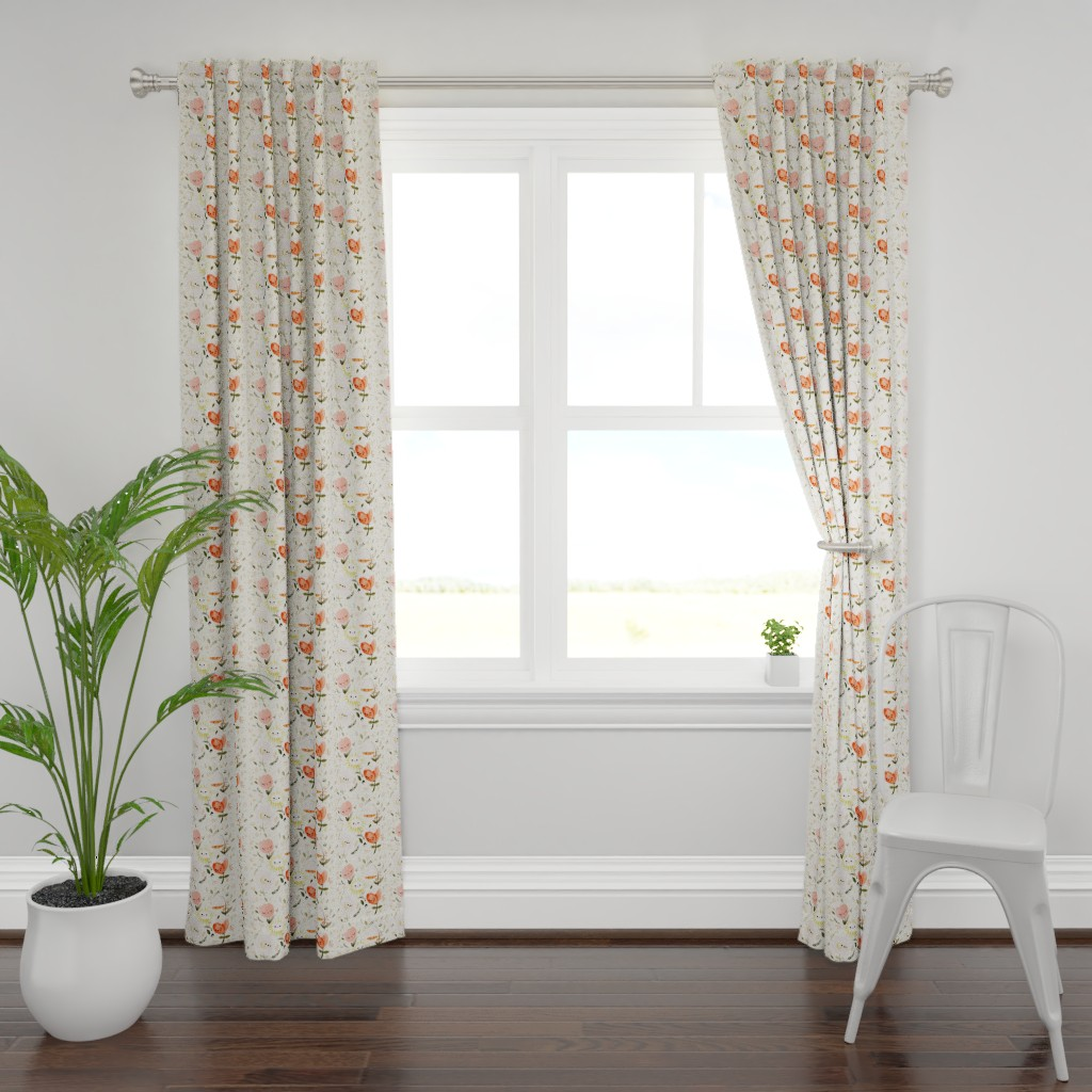 Plymouth Curtain Panel featuring Dreamy Spring - Happy Flowers (Small, Half Size) by ginamayes
