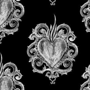 Sacred Hearts on black