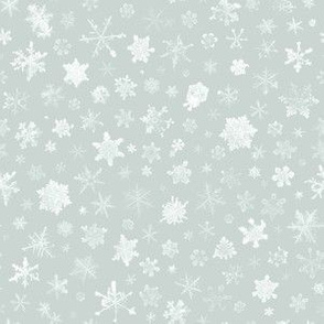 photographic snowflakes on ice grey