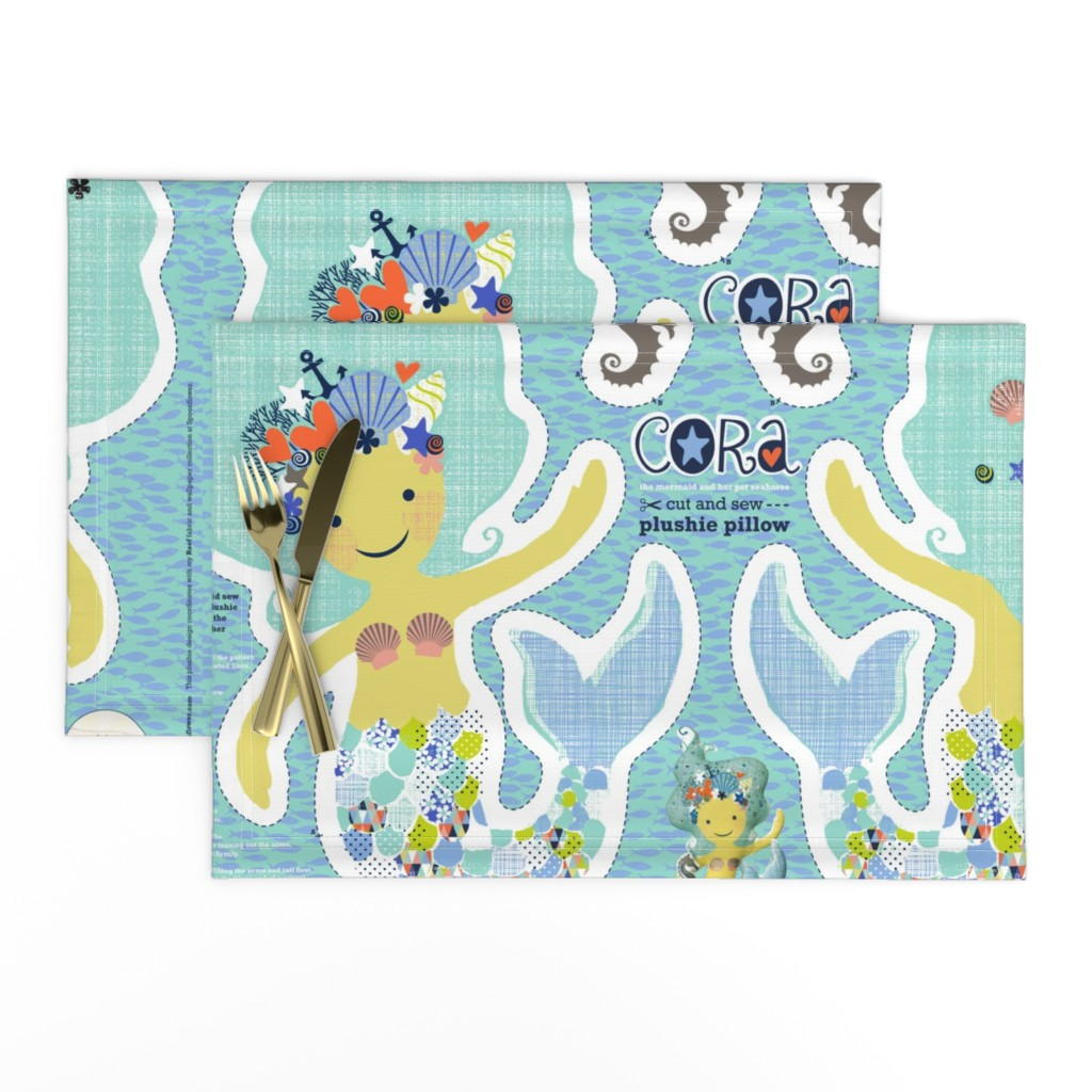 Lamona Cloth Placemats featuring CORA the mermaid plushie pillow by cerigwen