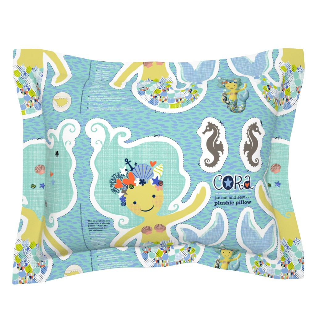 Sebright Pillow Sham featuring CORA the mermaid plushie pillow by cerigwen