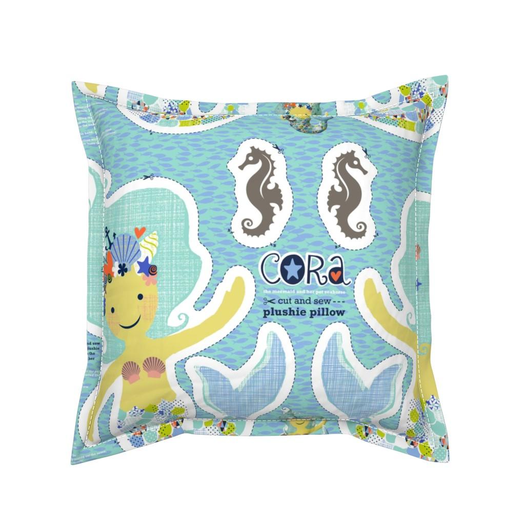 Serama Throw Pillow featuring CORA the mermaid plushie pillow by cerigwen