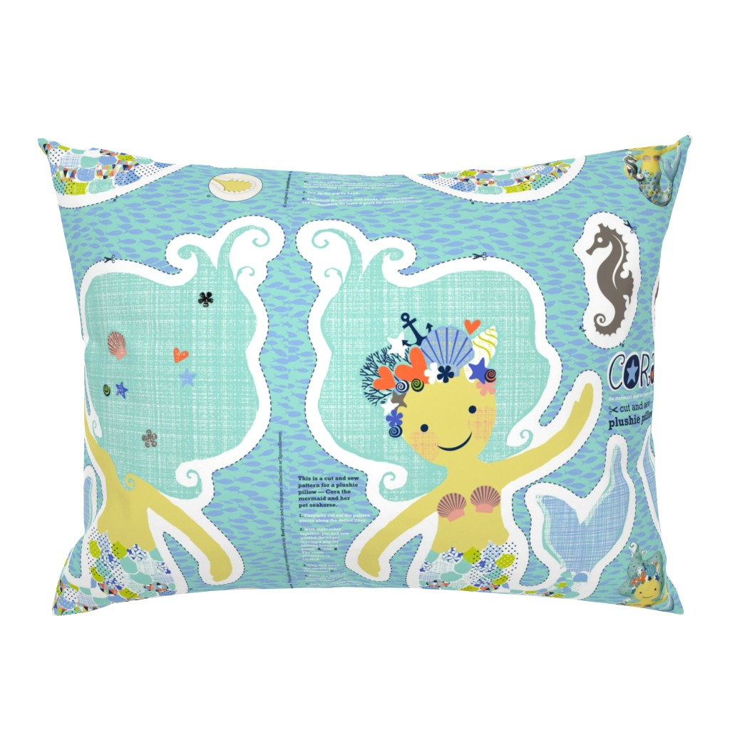 Campine Pillow Sham featuring CORA the mermaid plushie pillow by cerigwen