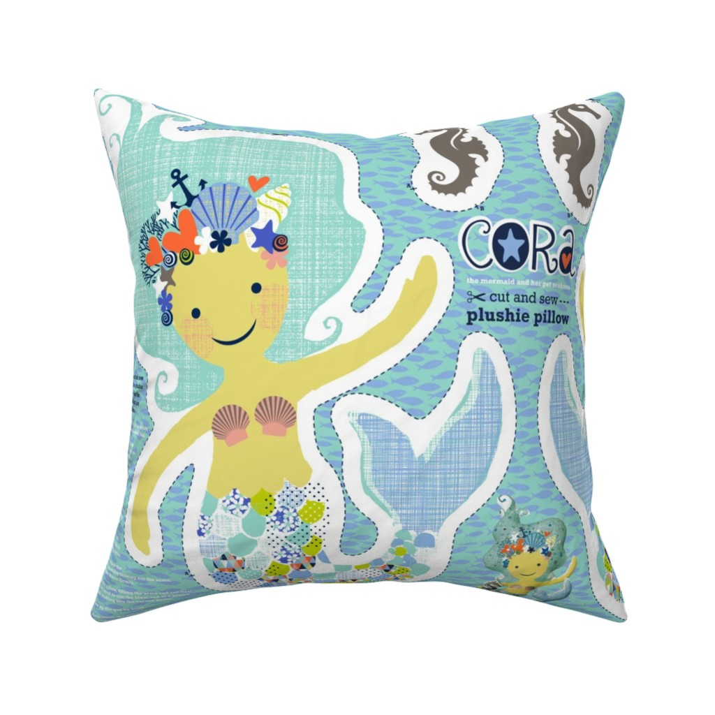 Catalan Throw Pillow featuring CORA the mermaid plushie pillow by cerigwen