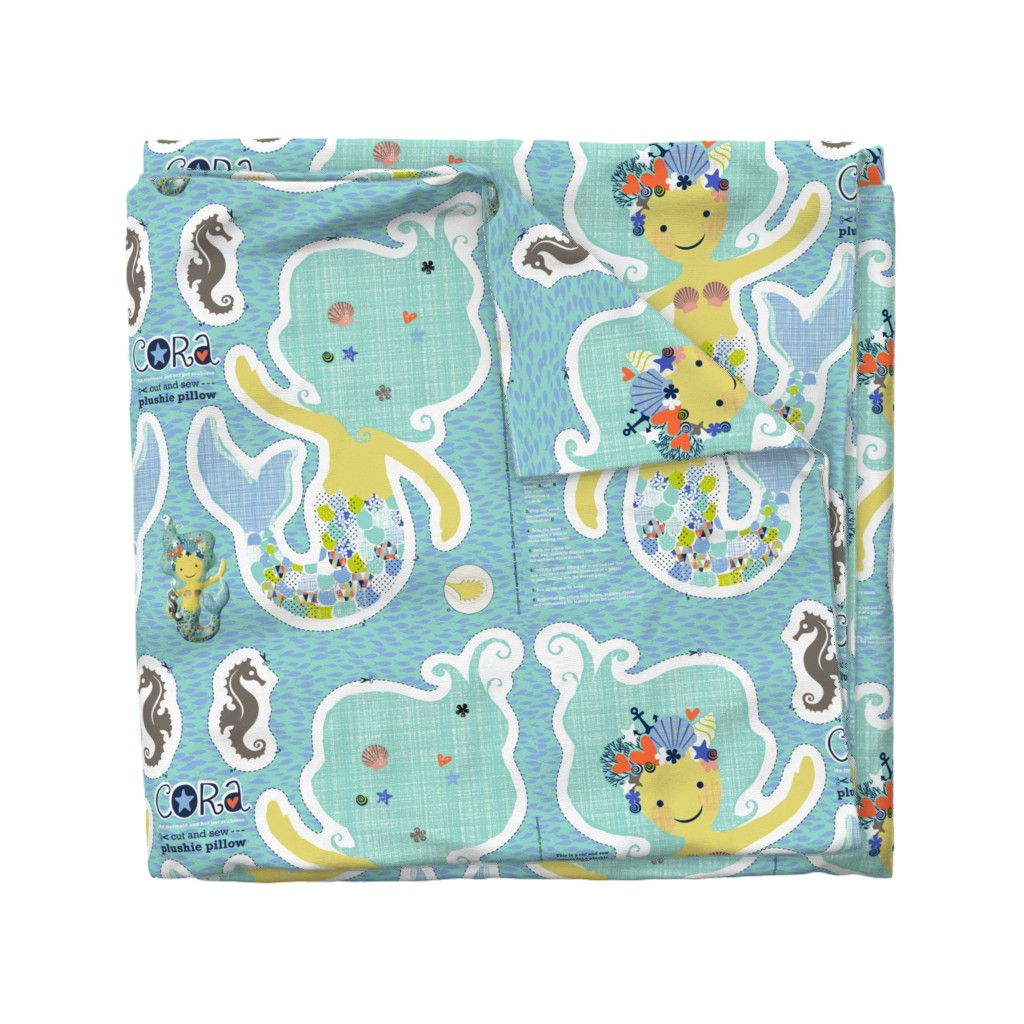 Wyandotte Duvet Cover featuring CORA the mermaid plushie pillow by cerigwen