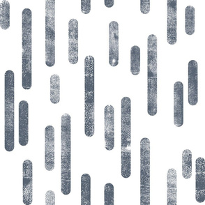 Blue-Gray on White | Large Scale Inky Rounded Lines Pattern