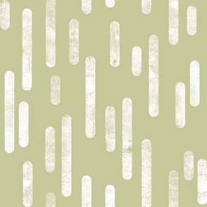 White on Pale Pistachio | Large Scale Inky Rounded Lines Pattern