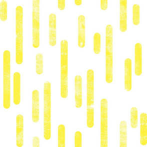 Bright Yellow on White | Large Scale Inky Rounded Lines Pattern