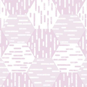 Small Scale Hexagonal Cheater Quilt | Inky Rounded Lines Pattern | White and Pink