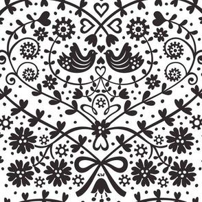 Enchanted Lovebirds (black & white)