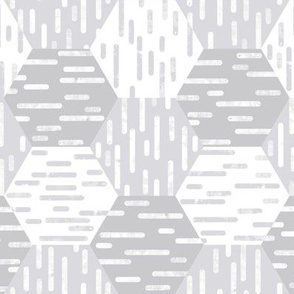 Small Scale Hexagonal Cheater Quilt | Inky Rounded Lines Pattern | White and Gray