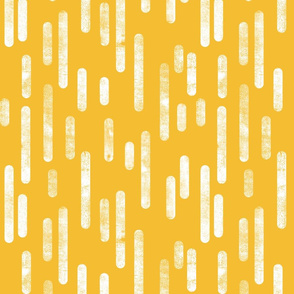 White on Mustard Yellow Inky Rounded Lines Pattern