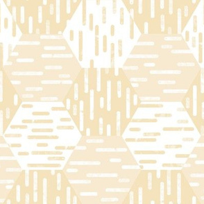 Small Scale Hexagonal Cheater Quilt | Inky Rounded Lines Pattern | White + Yellow