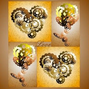 3D Brass Cog hearts roses with love