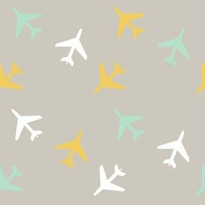 Airplanes White and Gray Mint Yellow