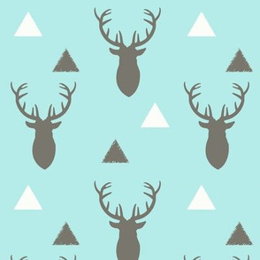 Gray and Blue Deer Heads Triangles