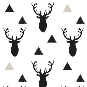 Black and White Deer Heads