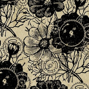 Vintage Flowers And Gears