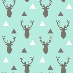 Gray White Aqua Deer Heads and Triangles