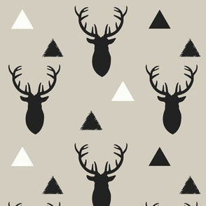Deer Triangles Black and Gray