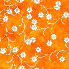 Folk Floral tangerine orange