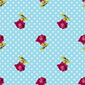 Roses On Blue Polka Dots