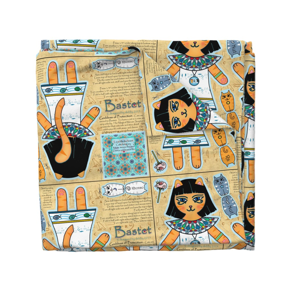 Wyandotte Duvet Cover featuring Bastet Plushie Doll ♥ by designed_by_debby