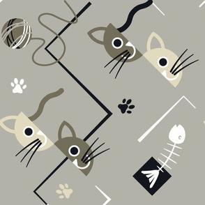 cubist cats grey